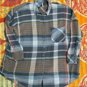 Free People Plaid Flannel Button Down Shirt